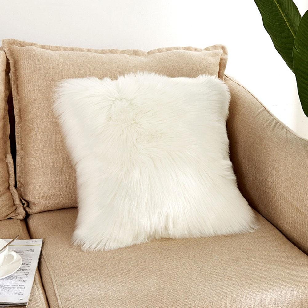 Super Soft Wool-Like Square Plush Faux Fur Throw Pillow Case Without Pillow Inner