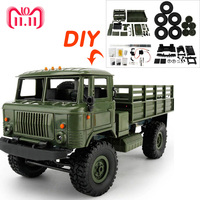 16 DIY 4WD Off Road RC Truck Toys Remote Control Car Toys Military Truck Wheel Drive Machine for Radio Control RC Crawler Car