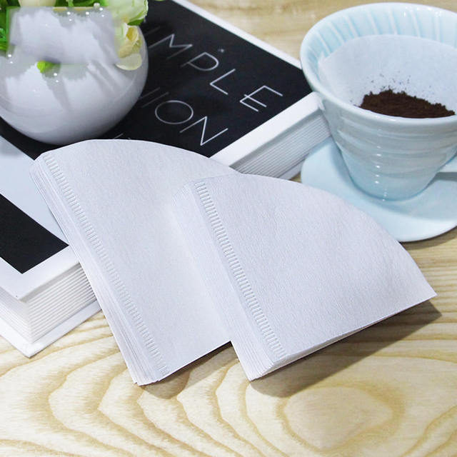 50Pcs/Bag Wooden Original Hand Drip Paper Coffee Filter White Espresso Coffee Filters Tea Infuser Accessories Kitchen Tools 4