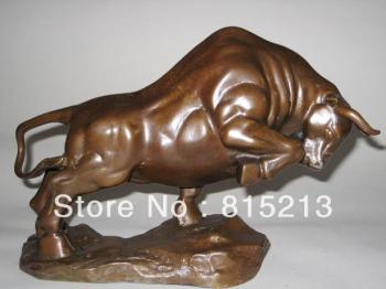 "wang 00079 Medium size Bronze coffee Wall Street Fierce Bull OX Figure Statue 9""Long"