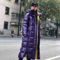 Зимняя модная женская пуховая хлопковая куртка Глянцевая теплая парка X-long с капюшоном толстое пальто женская уличная одежда с длинным рука...