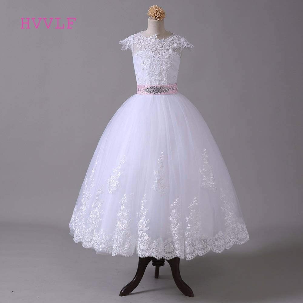 White 2019   Flower     Girl     Dresses   For Weddings Ball Gown Cap Sleeves Crystals Lace Bow First Communion   Dresses   For Little   Girls