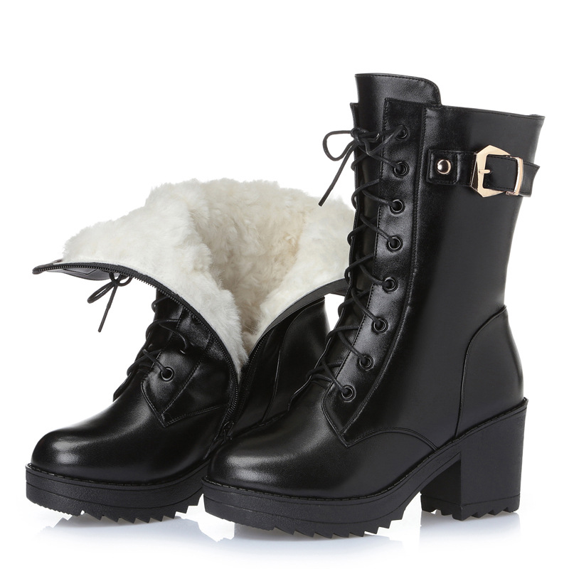 Hot Women's Winter Shoes Natural Wool Genuine Leather Women Winter Boot Brand Women Winter Shoes High Quality High Boots hot winter