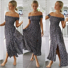 CUERLY Neck Boho Maxi Dress Summer 2019 Women Elegant Short Sleeve Casual Red Loose Clothes Sexy Long Dresses