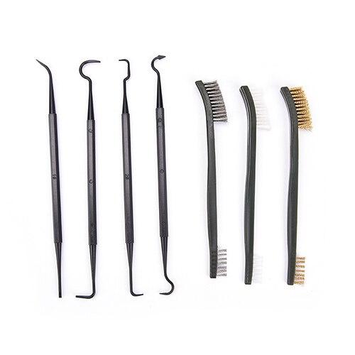 3pcs Steel Wire Brush + 4pcs Nylon Pick Set Universal Gun Hunting Cleaning Kit Tactical Rifle Gun Cleaning Tool цены онлайн