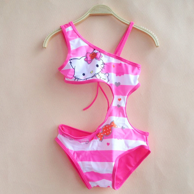 New kids 2018 Children Girls One Piece Swimsuit 3-10 Years Kids Girls Kitty Swimwear Girls Summer Cute Pink Swimsuit