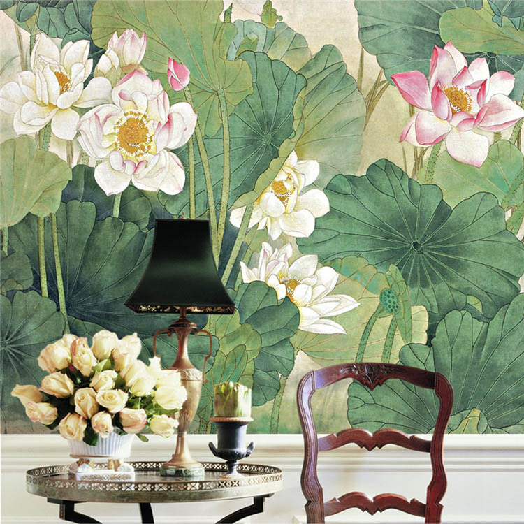 Buy elegant lotus painting photo for Asian wallpaper mural