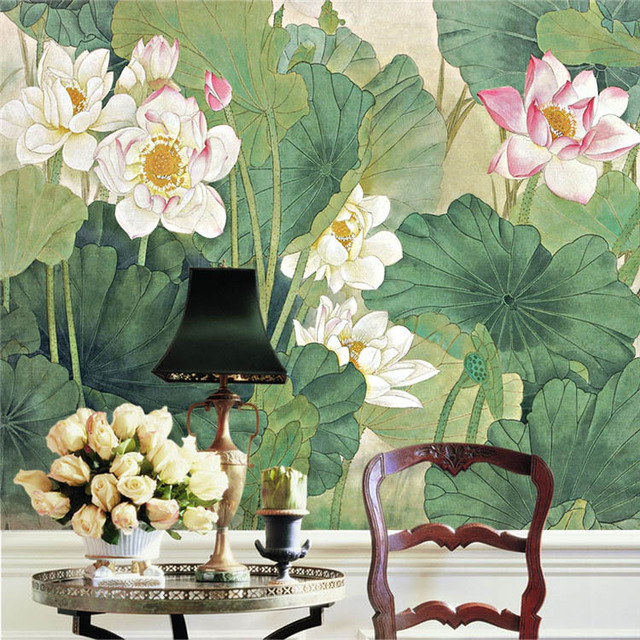 Elegant Wallpaper For Wall: Elegant Lotus Painting Photo Wallpaper Chinese Style Wall