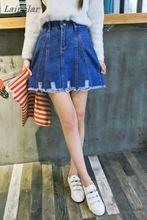 On sale 2018 summer Womens ladies A-line Pencil Jeans Skirt Denim tassel harajuku Short hole feminino sweet girl skirts Laipelar цены