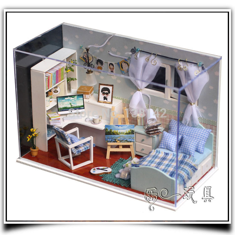T005 Comfortable Boys Bedroom Dollhouse Miniature Doll House Led Light Free  Shipping In Doll Houses From Toys U0026 Hobbies On Aliexpress.com   Alibaba  Group