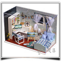 T005 Comfortable Boys Bedroom dollhouse miniature doll house led light free shipping