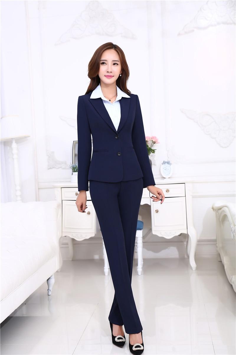 New Autumn Winter Uniform Designs Pantsuits With Jackets And Pants Office ladies Business Women Pants Suits Female Trousers Sets