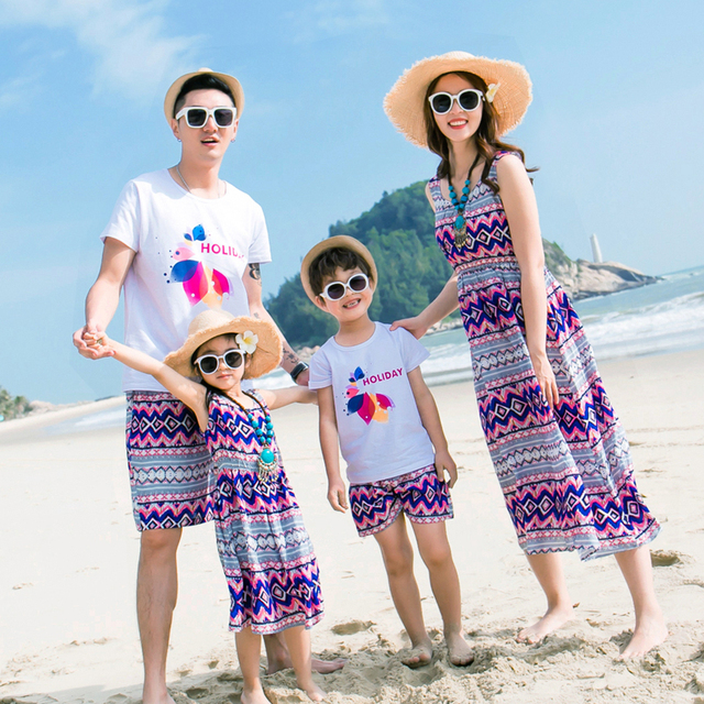 2017 Family Set Beach Clothes Bohemian Mother/Mom and Daughter Dresses Clothes Father Son Clothing Sets Family Clothing 3XL GS33