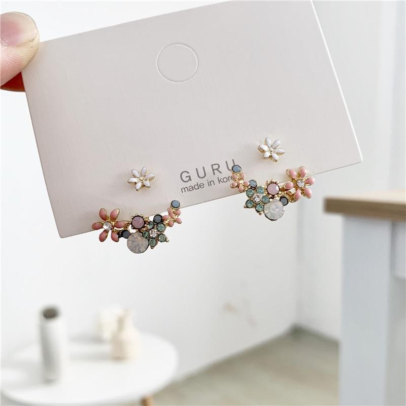 2019 Korean hot fashion jewelry fresh cute hook drop oil flower stud earrings crystal earring for women(China)