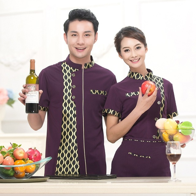 new chinese restaurant waiter uniform hotel waiter clothes summer