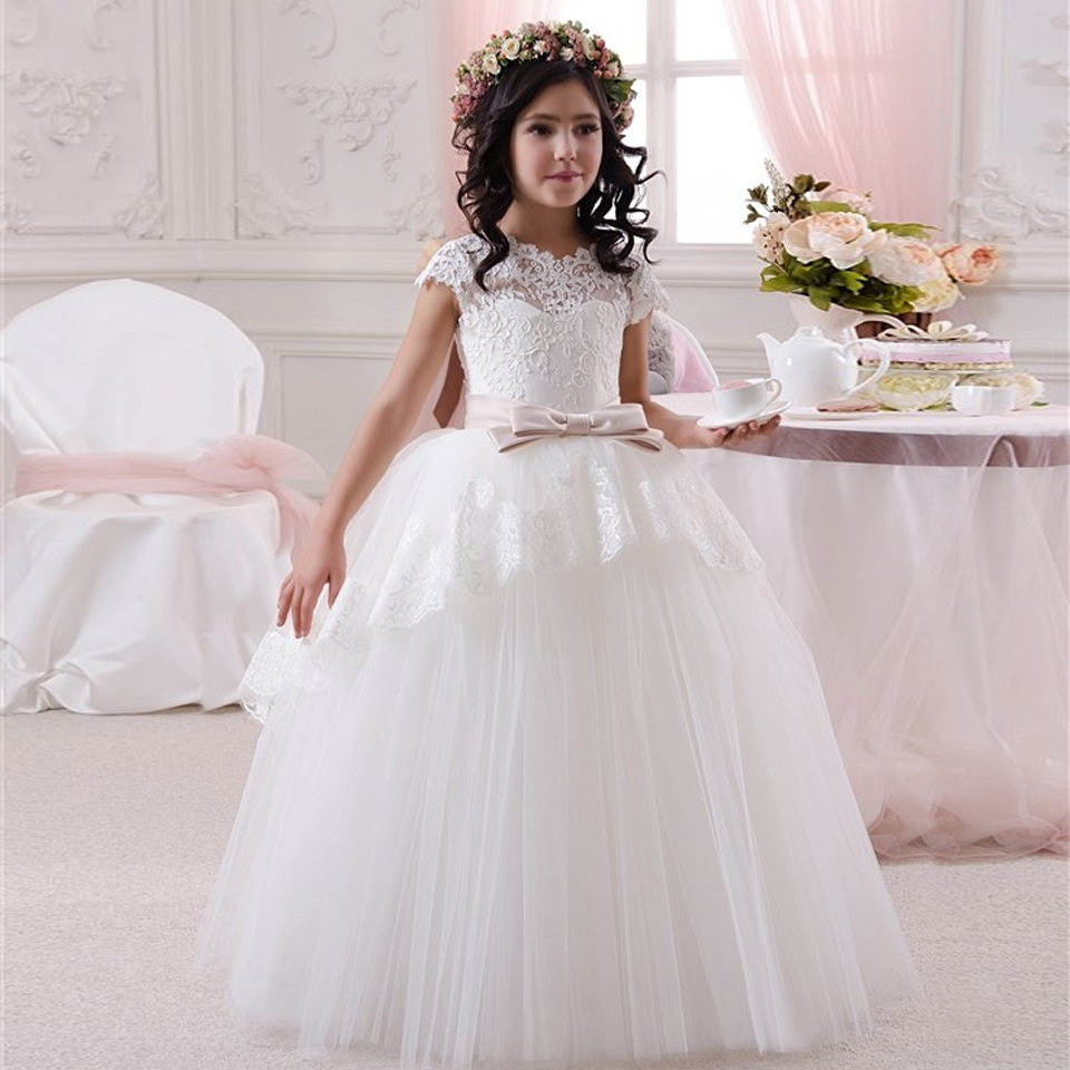 Satin White Dresses V-Neck And Ankle length Pageant Dresses for Little Girls Evening Gowns Vestidos de Primera Comunion 2016 elegant lace floral appliques flower girls dress cute mint green sleeveless pearls beaded kids pageant ball gowns for communion