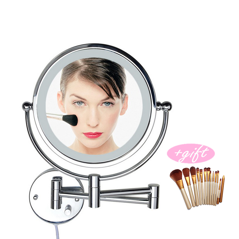 Professional 8 Inch LED Light Wall-mounted folding cosmetic mirror 5X Magnifying LED Makeup Mirror bathroom mirror For Gift silver extending 8 inches cosmetic wall mounted make up mirror shaving bathroom mirror 5x magnification