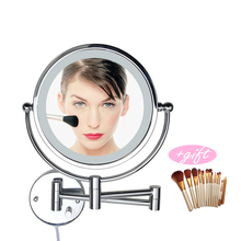 Professional 8 Inch LED Light Wall-mounted folding cosmetic mirror 5X Magnifying LED Makeup Mirror bathroom mirror For Gift