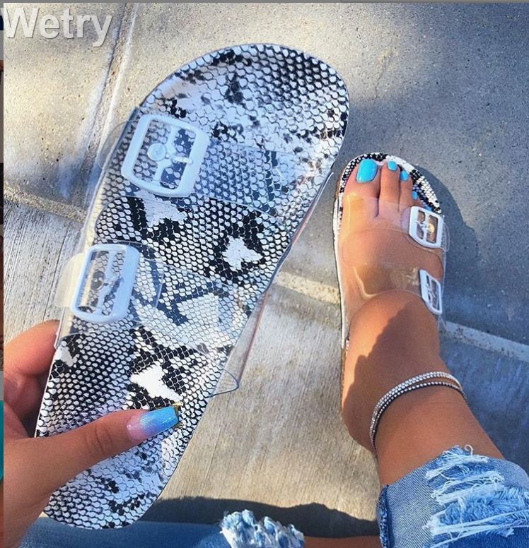Clear Shoes2019 New Summer Open Toe Belt Buckle Flat Slippers Ladies Snake Shallow Casual Beach Slide Woman Shoes