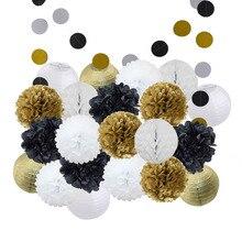 Lanterne en papier rond avec pompon pour décoration de cérémonie, fête, artisanat suspendu, 22 pièces par ensemble, tailles mixte, or, noir, blanc et rose, 8, 10 pouces
