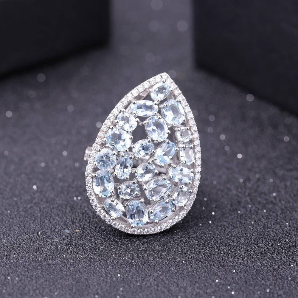 GEM'S バレエ 6.31Ct 天然スカイブルートパーズカクテル 925 スターリングシルバー宝石用原石の結婚指輪ファインジュエリー  グループ上の ジュエリー & アクセサリー からの 指輪 の中 2