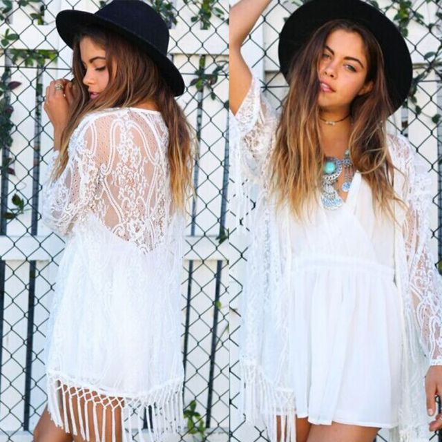Women Hot Now Boho Fringe Lace Kimono Cardigan Tassels Long Sleeve Beach Cover Up Cape Tops Blouses 2018