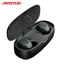 TS007 Twins Mini Invisible Bluetooth Headset Stereo handsfree noise membatalkan Fon kepala Earphone Wireless dengan kotak Power Bank