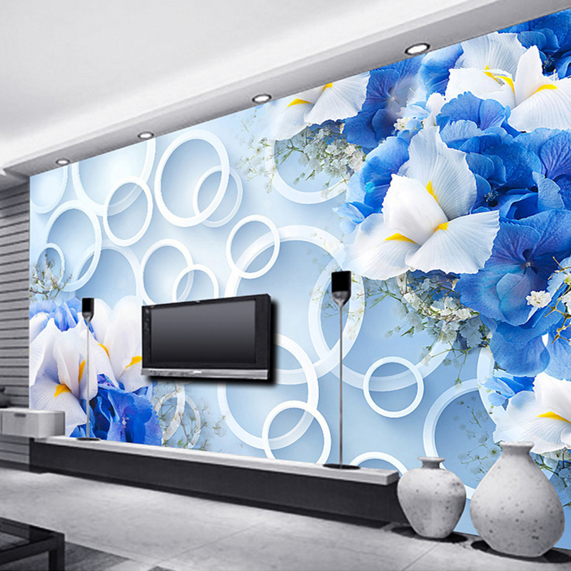 Custom Photo Wall Paper Modern Fashion 3D Circles Blue Floral TV Background Mural Non-woven Fabric Wallpaper For Bedroom Walls