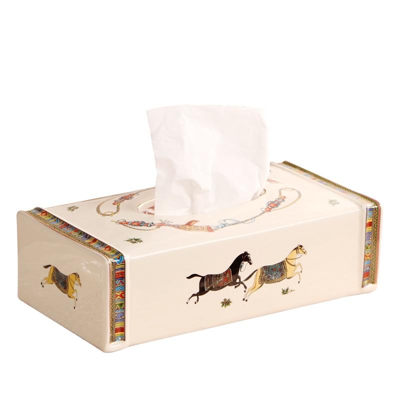 Caja de pañuelos desmontable de cerámica Caja porta pañuelos para papel de seda Cajas de pañuelos vintage para decoraciones para el hogar