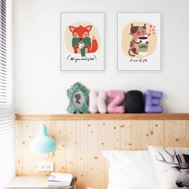 Kawaii Animals Cat Fox Art Print Posters Coffee Tea Wall Pictures Canvas Painting No Framed Kids Room Cafe Decoration
