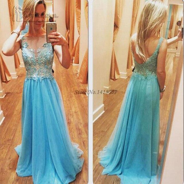 50fa5fecc Vintage azul largo Universidad graduación Vestido de encaje sin espalda Vestidos  de graduación baratos 2017 Vestidos