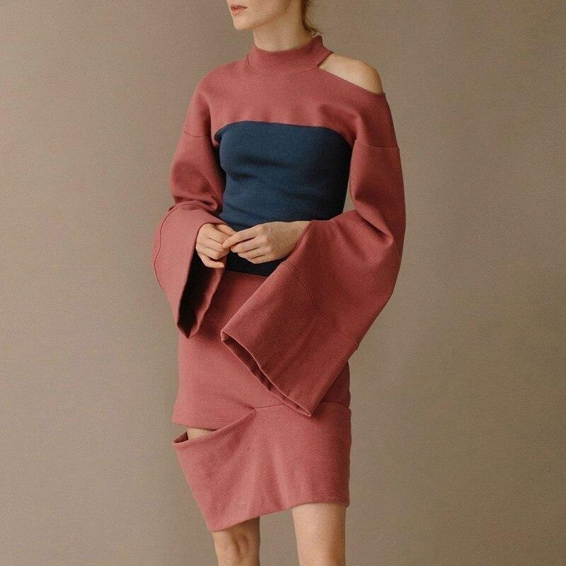 LANMREM 2019 women New Pattern Hit Color Split Joint high waist hollow out dress Fashion spring