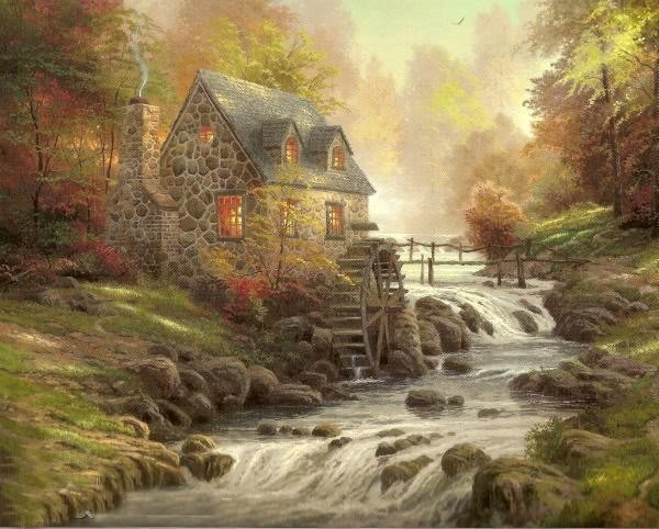 oil painting foothill autumn mill house river xinch