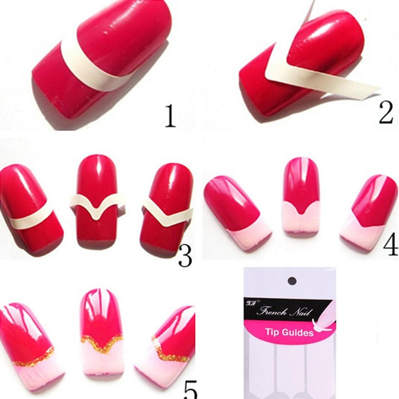 LEARNEVER 18 Sheets/Set french nail sticker DIY French Manicure Wave ...