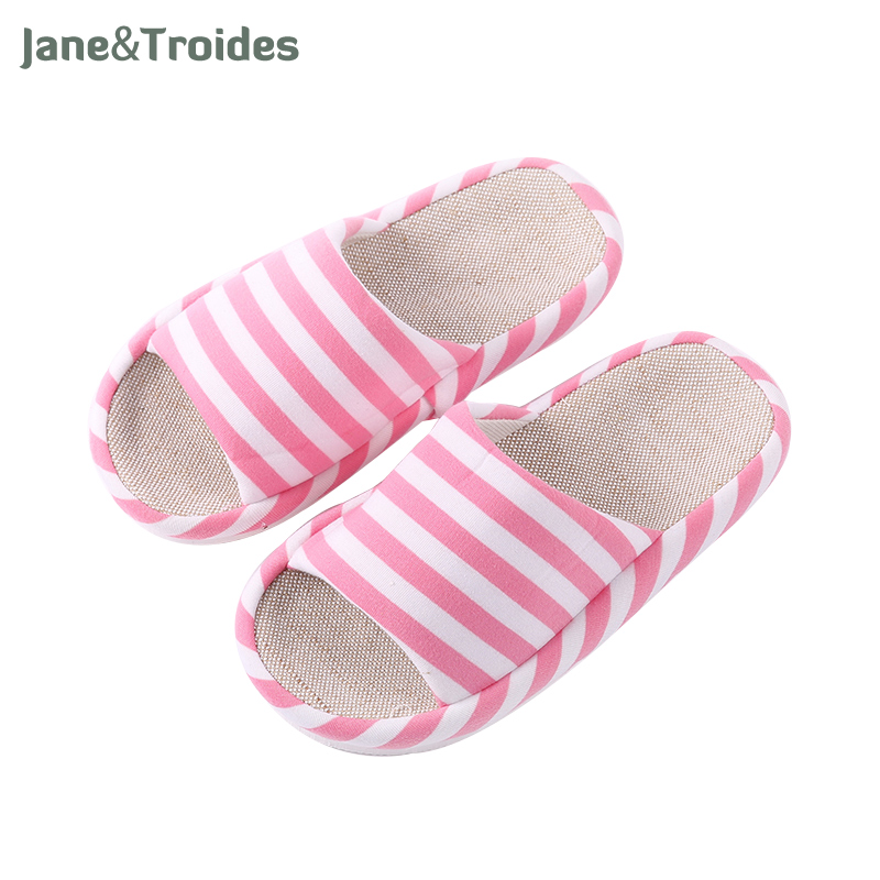 Spring Home Casual Women Flax Slippers Stripe Indoor Bedroom Flip Flops Comfortable Open Toe Sandals Fashion Woman Shoes 2017 fashion flax home slippers indoor floor shoes belt silent sweat slippers for summer women sandals unisex flip flops af433