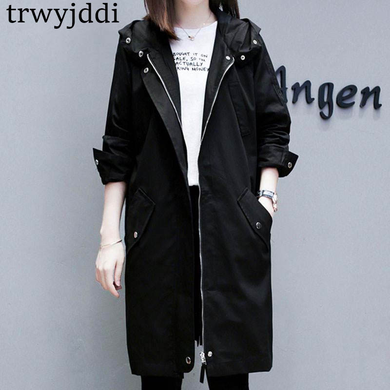 2019 New Casual C Female Spring Autumn Women's Large Size Korean Long   Trench   Coat Outerwear N387