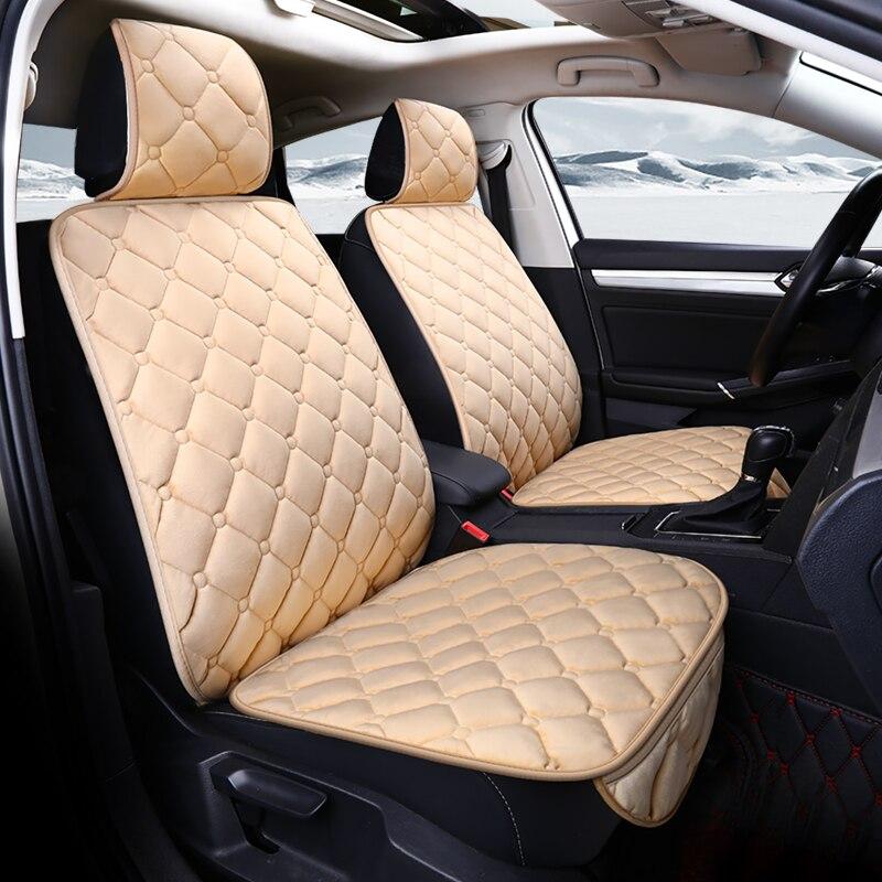 Universal Tampa de Assento Do Carro de Pelúcia Inverno Quente da Pele Do Falso Auto Acessórios Protetor de Frente Para Trás Do Encosto Almofada Do Assento Almofada Interior