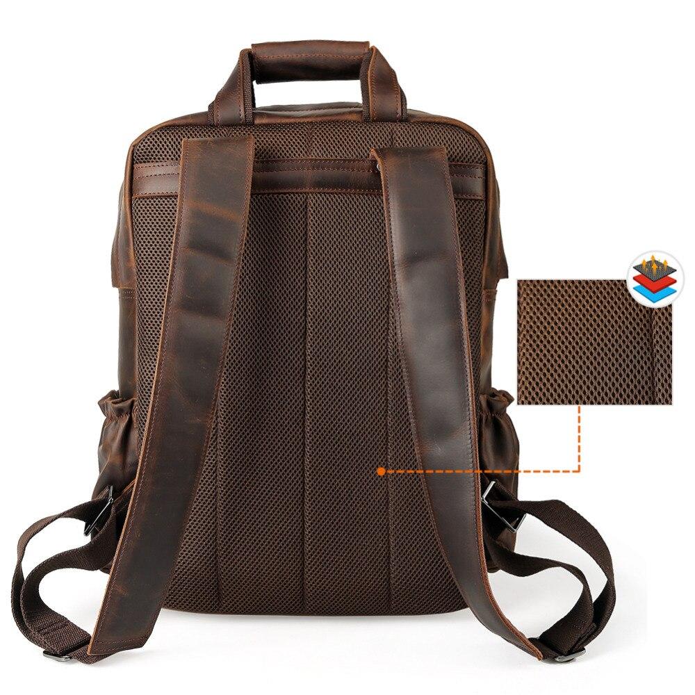 Ретро мужской рюкзак из натуральной кожи большой емкости для ноутбука школьная сумка рюкзак мужские коричневые сумки на ремне кожаные доро... - 4