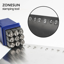 ZONESUN 9PCS Jewelry Stamps Number Set Punch Steel Metal Tool Case Craft Hot 2/3/4/5/6/8/10/12mm