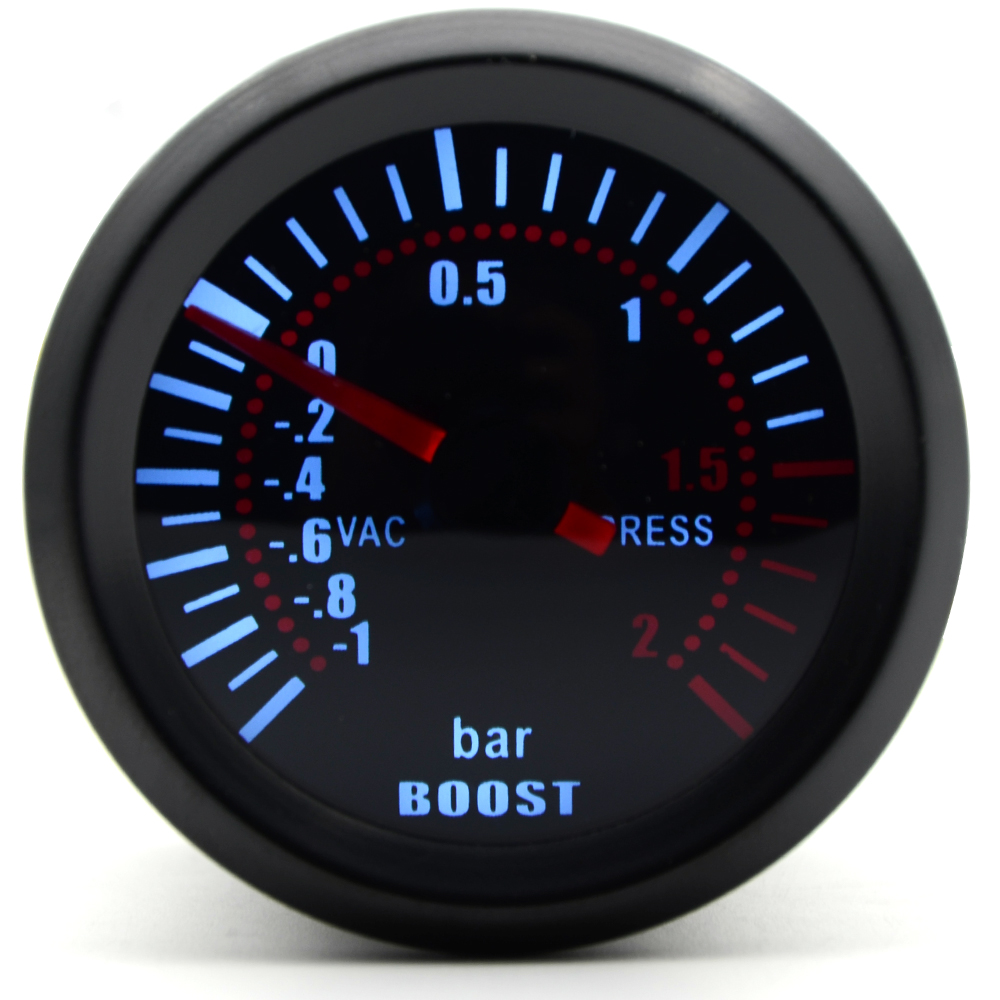 2'' 52mm Universal Smoke Lens Turbo Boost Gauge Bar Boost Gauge LED Gauge Meter Car gauge universal racing gauge turbo boost gauge greddi 7 light colors lcd display with voltage meter 62mm 2 5 inch with sensor