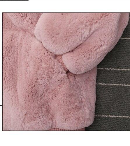 Lz824 Fille Mujer Capuchon Casacas Para Hiver pink 2018 Red Sweat Imitation Fourrure Polaire Femelle Manteau De À Épais Ms Invierno Haute Lâche WEDH2IY9