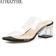 53165d7e26 AIYKAZYSDL Women Crystal Sandals Plastic Transparent Clear Slippers Open  Square Toe Mule Slides Thick Block High Heel Shoes