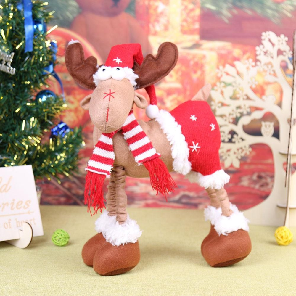 Christmas Reindeer Doll Xmas Deer Elk Party Doll Christmas Desktop Plush Reindeer Ornaments Cute Standing Toy Decors for home