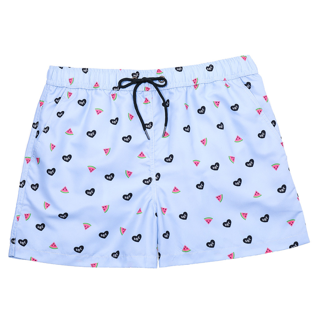 Men's Shorts Boxer Quick-Dry Beach Cartoon Summer Loose with Four Surf Trunks Straight-Tie