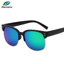 Fashion sunglass Classic brand Rivet Semi-Rimless Green Mirrored  Sunglasses Women Men Glasses oculos de sol feminino