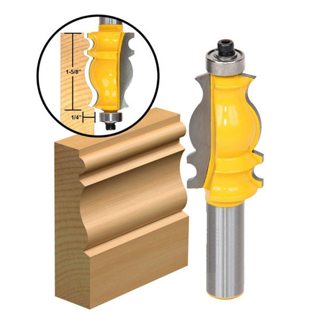 1/2*1-5/8 Shank Router Bits Woodworking Tool Trimming Cutter Fishtail Handrail Router Bit High-grade Welding For Woodworking high grade carbide alloy 1 2 shank 2 1 4 dia bottom cleaning router bit woodworking milling cutter for mdf wood 55mm mayitr