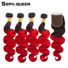 Soph queen Hair Pre Colored Peruvian T1B 39J 4 Bundles With Closure 100 Human Hair Body