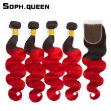 Soph queen Hair Pre-Colored Peruvian T1B/39J 4 Bundles With Closure 100% Human Hair Body Wave Hair Weave Bundles 12-24Inch