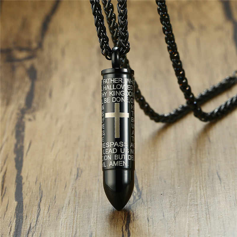 ZORCVENS Mens Bullet Shaped Necklaces & Pendants Can Be Opened Punk Stainless Steel Cross Necklace for Men Prayer Jewelry