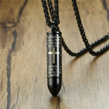 ZORCVENS Mens Bullet Shaped Necklaces & Pendants Can Be Opened Punk Stainless Steel Cross Necklace for Men Prayer Jewelry(China)
